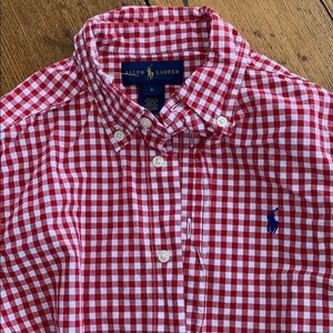 Ralph Lauren boys red/white long sleeve button up